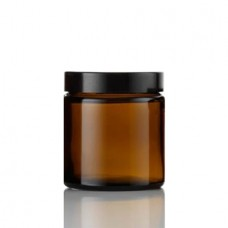 4 Oz Amber Glass Jar With Black Smooth Lined Cap