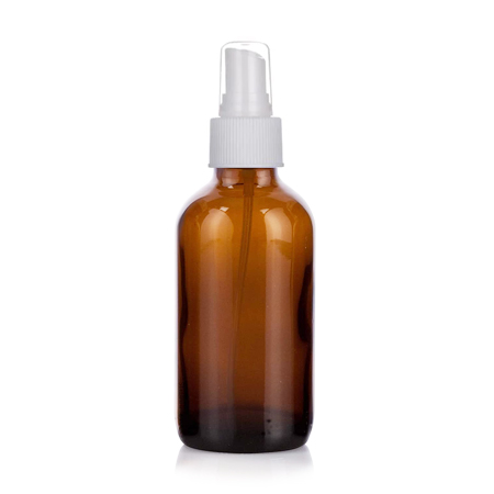 4 Oz Amber Glass Bottle With White Sprayer