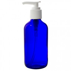4 Oz Blue Glass Bottle With White Lotion Pump