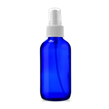 4 Oz Blue Glass Bottle With White Sprayer