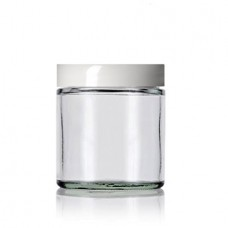 4 Oz Clear Glass Jar With White Smooth Lined Cap