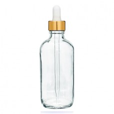 4 Oz Clear Glass Bottle With Gold White Dropper