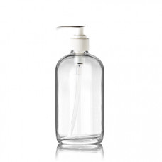 8 OZ Boston Glass Bottle With White Lotion Pump