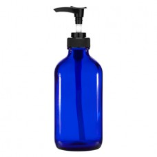 8 Oz Blue Glass Bottle With Black Lotion Pump