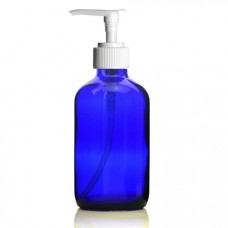 8 Oz Blue Glass Bottle With White Lotion Pump