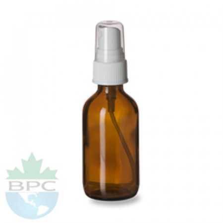 1 Oz Amber Glass Bottle With White Atomizer