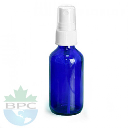 1 Oz Blue Glass Bottle With White Automizer