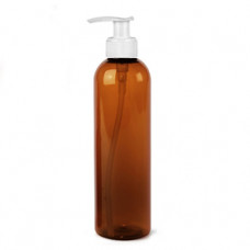 8 Oz Amber Pet Bottle With White Pump