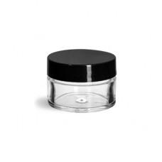 1/2 Oz Clear Jar With Black Cap