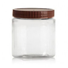 8 OZ Pet Jar Clear With Brown Cap (250 ml)
